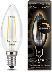 Лампа Gauss 103801105-D LED Filament Candle dimmable E14 5W 2700К 1/10/50