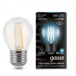 Лампа Gauss LED Filament Globe E27 5W 4100K 105802205