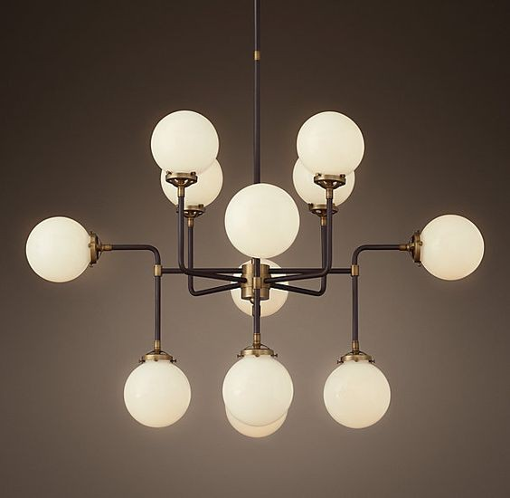 Люстра RH Bistro Globe Milk Glass 12-Light Chandelier