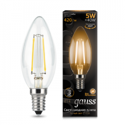 Лампа Gauss 103801105 Filament Candle E14 5W 2700К